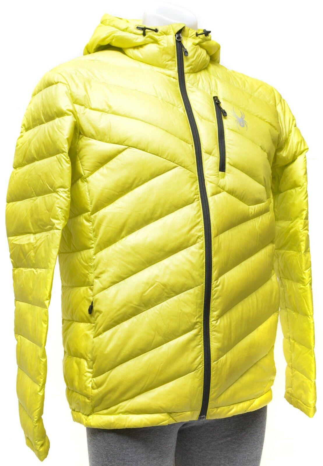 Spyder Syrround Hoody Down Jacket Men MEDIUM Acid Gelb Hood Puffy Jacket Coat