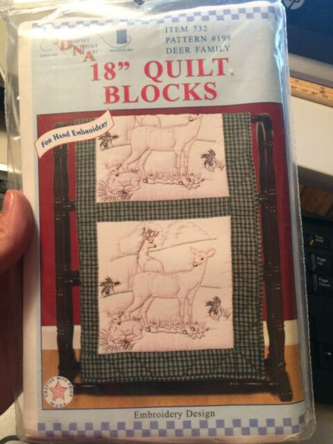 Jack Dempsey Stamped Embroidery White Quilt Blocks 199 Deer Family