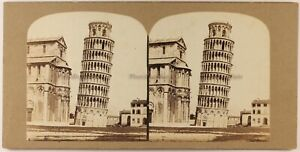 Italia Pisa Torre Forata c1860 Foto Stereo Vintage Albumina