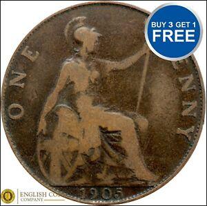 1902 à 1910 Edward VII Penny / penny Choix de l'année / date