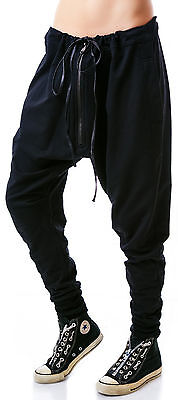 LIP SERVICE WIDOW UNISEX GOTHIC OVERSIZED NIGHT PROWLER DROP FRONT SWEATPANTS