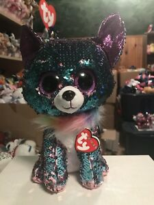"""6bd46c00b43 Ty FLIPPABLES  YAPPY -Shiny Pink Teal Sequined Dog 10"""" Beanie Boo ..."""