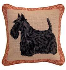 "Black Scottie Scottish Terrier Dog Needlepoint Pillow 10""x10"" NWT"
