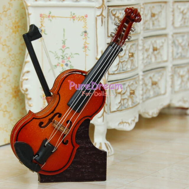 Dollhouse Miniature Music Instrument Wood Violin & Stand For Dolls HE007