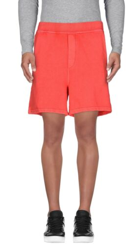 Dsquared2 Mens Logo Surfer French Fleece Sweat Shorts Medium Coral Made In Italy