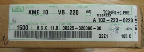 6.3x11mm 220uF//10V NIPPON CHEMI-CON Aluminum KME10VB220MTC04RF50 Qty.50