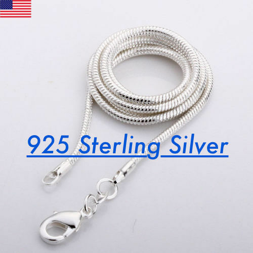 925 Sterling Silver solid Snake Chain Necklace .925 Italy All Sizes