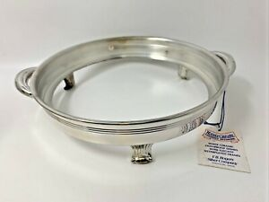 Trademark F.B. Rogers Silver Plate Round Casserole Holder w/Handles 3-Footed 586