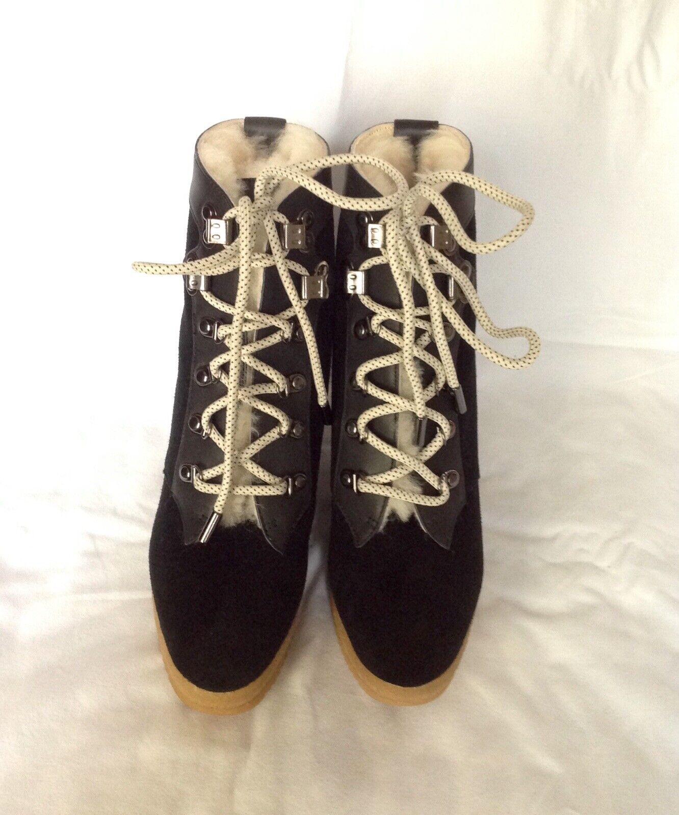 5073ae48 Joie cuña de plataforma Laceup botas al tobillo en gamuza cuero negro,  tamaño 37 nazktt1616-Botas