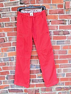 Kathy Peterson KOI Lindsey Cargo Scrub Pants 701 Coral Orange Bright S Small EUC