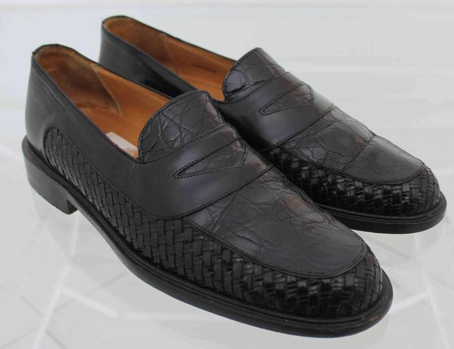 miglior servizio MEZLAN nero CROCODILE   ALLIGATOR WOVEN LOAFERS LOAFERS LOAFERS   scarpe Uomo SZ 8 D  prima i clienti