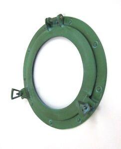 """11/"""" Aluminum Porthole Mirror Green Finish ~ Cabin Ship Porthole ~Nautical Decor"""