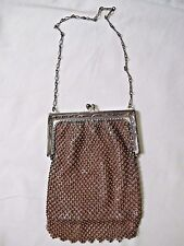 Vintage Whiting Davis Brown Metal Mesh Bead Small Purse Handbag Fringe 1920s