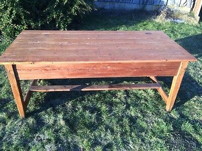 Kitchen Table Long Performance Life Furniture 1800-1899 Well-Educated Antique Pine Refectory Table