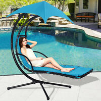 Hanging Chaise Lounge Chair Arc Stand Air Porch Swing Hammock Canopy Blue