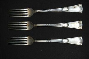 Allemagne-3-Fourchettes-1920-Art-Deco-Argent-800-Longueur-21cm-43720