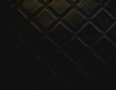 TRELLIS VINYL BLACK LEATHERETTE FAUX LEATHER QUILTED  FABRIC