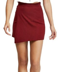 Free-People-Womens-Skirt-Red-Size-Large-L-Faux-Wrap-Solid-Stretch-Knit-50-762