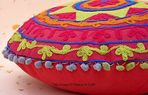 Indian Handmade Embroidered Cushion Cover Round Pillow Case Suzani Bohemian