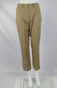 Ralph Lauren Dress Pants Womens Beige Tan Khaki Flat Front Stretch Cotton Size 2
