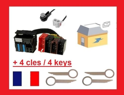 4 keys cable pour Antenne Adapter AUDI A3 A4 A6 TT Allroad RNS-E ISO
