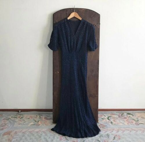 Vintage 1930s 1940s Navy Lace Dress