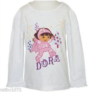 NEW-Licensed-Dora-the-Explorer-Girls-White-Long-Sleeve-Top-Size-5