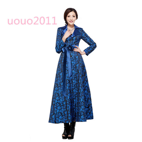 Womens Lace Floral Long Trench Coat Lapel Belt Slim Full Length Outwear Jackets