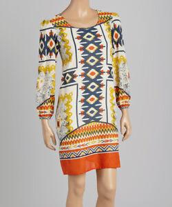Copieux Orange Dress Taille 4 En Coton à Motifs Géométriques à Manches Longues-afficher Le Titre D'origine AgréAble à GoûTer