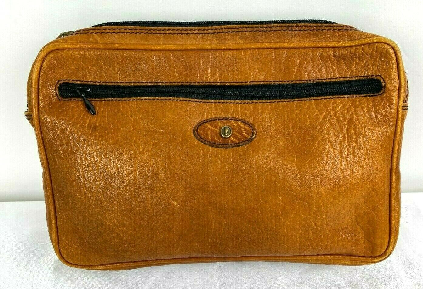Vintage West Germany Caracciola Patina Brown Leather Bag Wallet Zipped Clutch