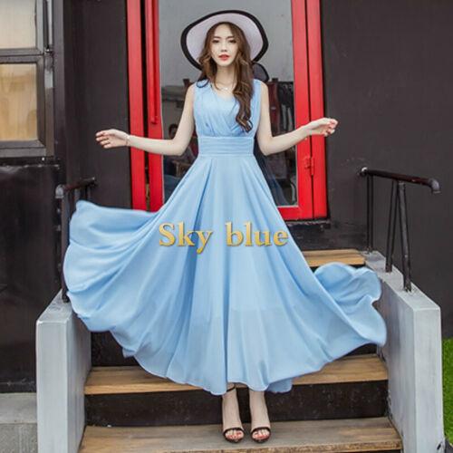 Lady Chiffon Sleeveless Dress V Neck Swing Cute Elegant Fairy Princess Beach New