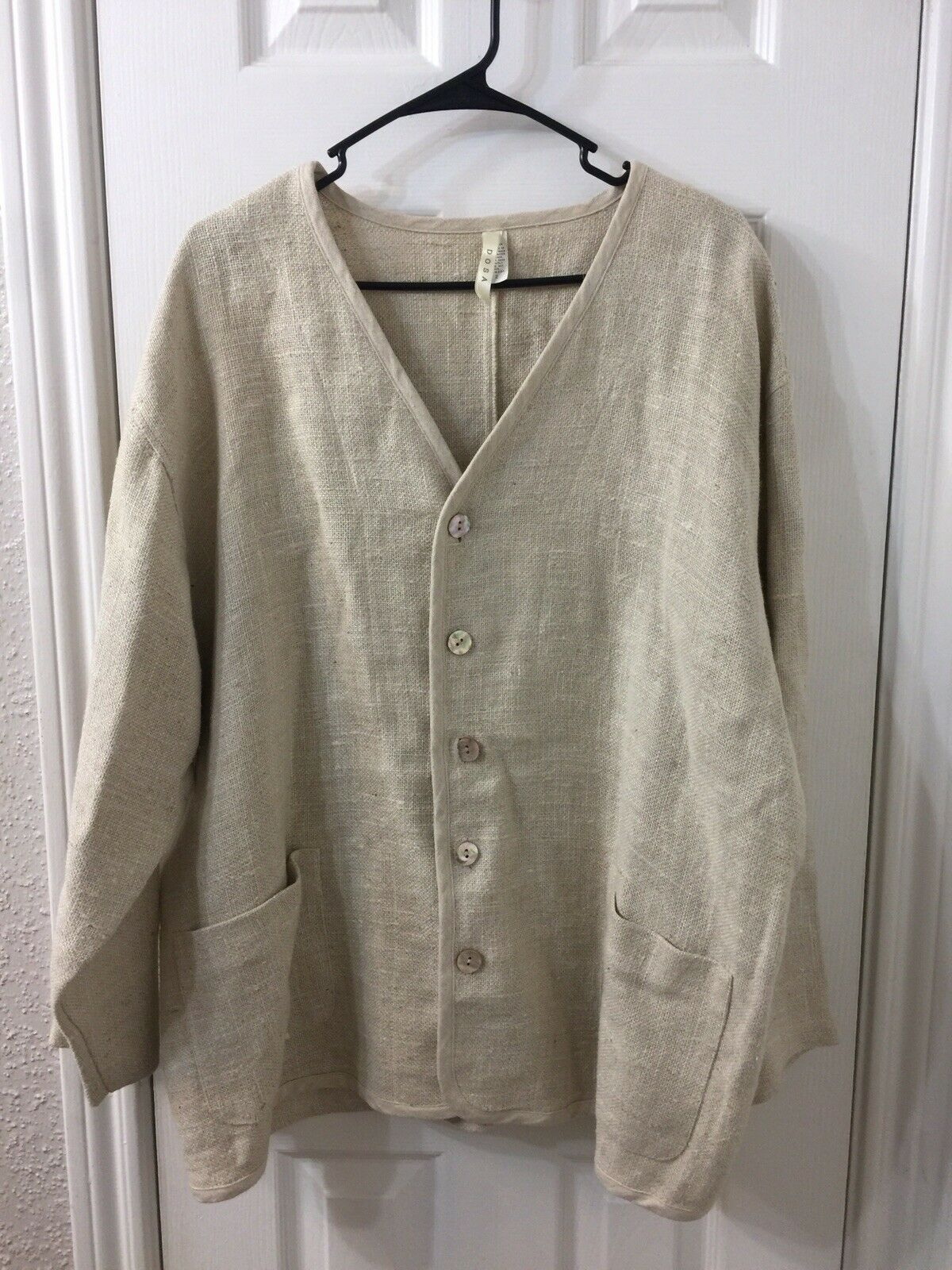 Dosa Linen Long Sleeve Beige Top Sz 2