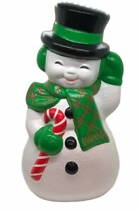 """Vintage Ceramic Mold Snowman Frosty 13"""" Top Hat Candy Cane Scarf Hand Painted"""