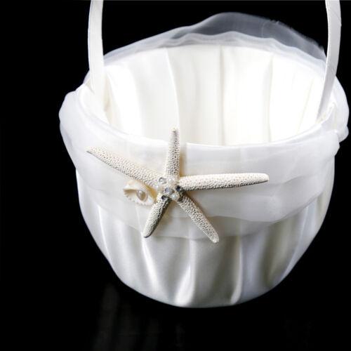 Starfish Pearl Shell OrganzaBowK Ivory Satin Beach Wedding Flower Girl Basket