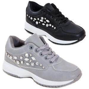 super popular 86492 aeb56 Dettagli su Sneakers donna scarpe ginnastica eco pelle stringate strass  sportive OM-120