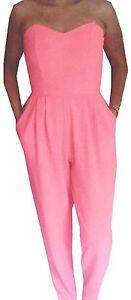 JUMPSUIT-playsuit-john-zack-Pink-trousers-top-all-in-one-romper-uk-8-eu-36