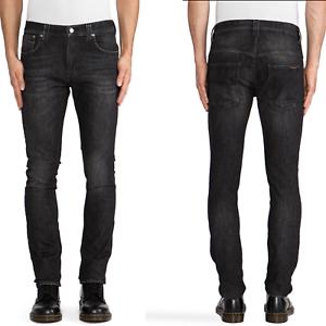 Nudie-Unisex-Herren-Damen-Skinny-Fit-Stretch-Jeans-Hose-Tape-Ted-Black-Briquette