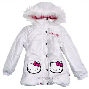 6c5110786 Hello Kitty Kid Girl White Faux Fur Hooded Puffer Jacket Coat Parka ...