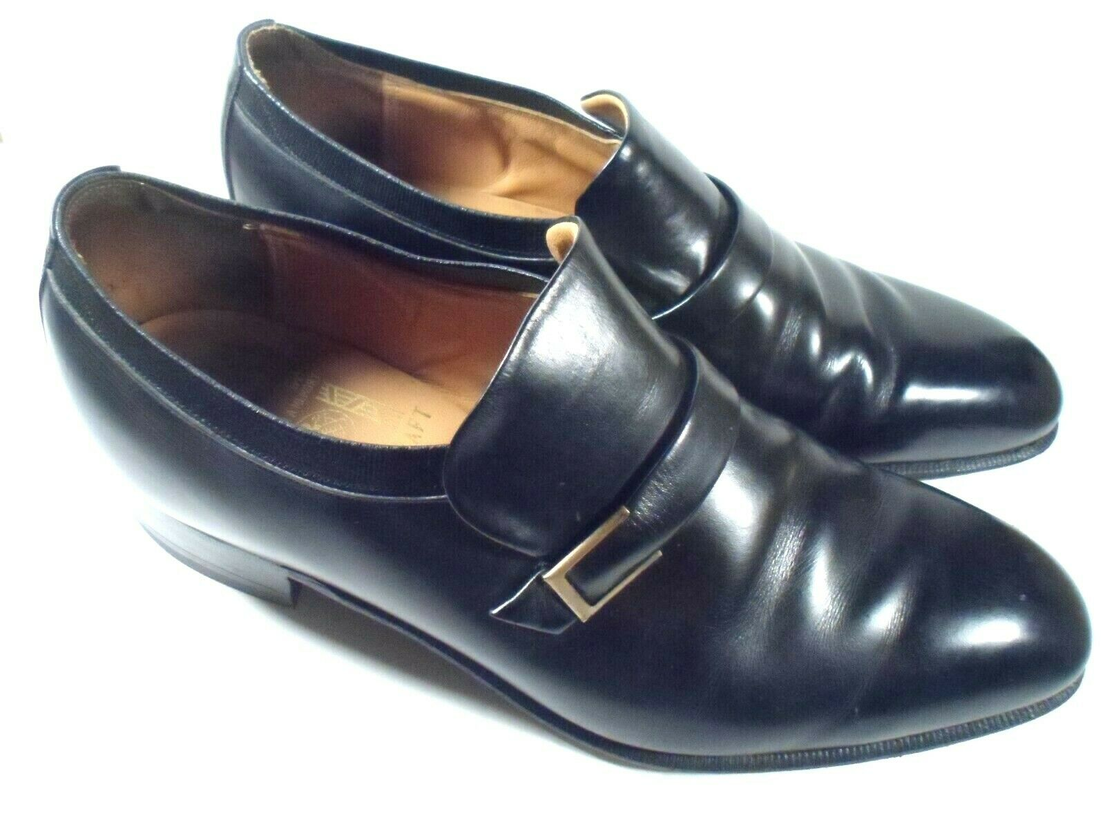 Johnston & Murphy SZ 11 D B Mens Black Leather With Buckle Slip On