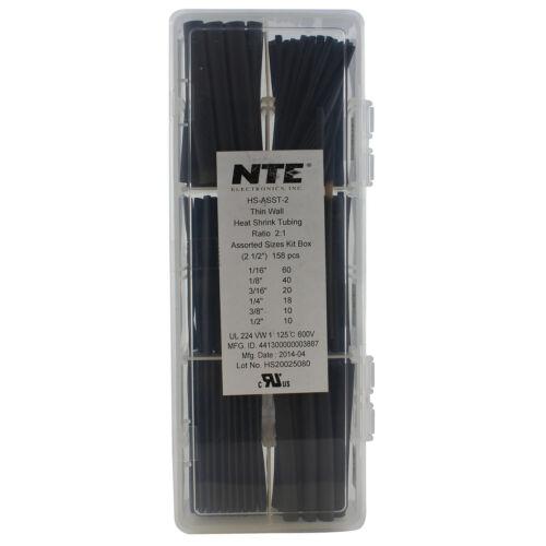 "NTE Kester HS-ASST-2 Heat Shrink 2:1 Black Assorted Sizes 2.5/"" 158 Pc Box"