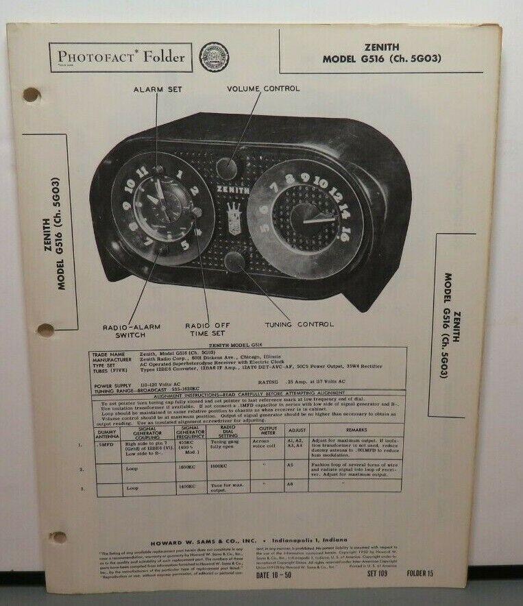 SAMS PHOTOFACT SERVICE MANUAL 109-15 ZENITH RADIO MODEL G516 5G03