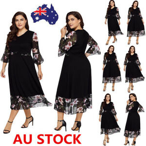 Plus-Size-Women-Floral-Flared-Sleeve-Dress-Evening-Party-Cocktail-Mini-Dress