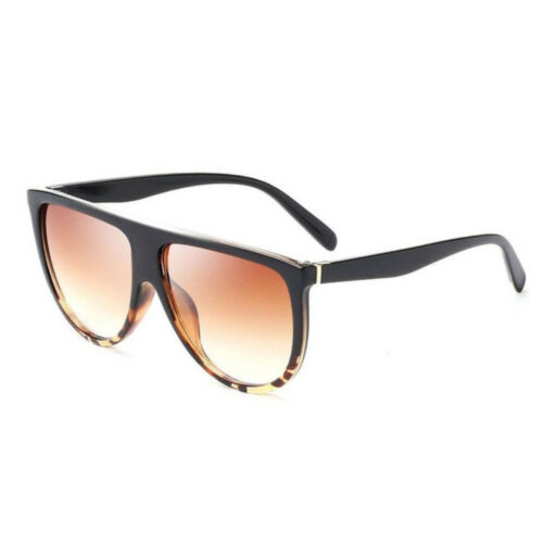 OVERSIZED BLACK TORTOISE SHELL FLAT TOP SHIELD WOMEN/'S SUNGLASSES 400 UV