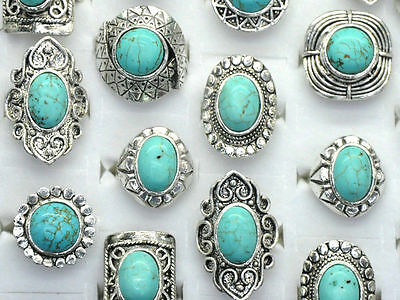 Wholesale 10pcs Mixed Vintage Gemstone Siler P Turquoise Rings Jewelry Bulk ki*