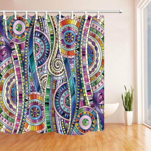 Beautiful Tribal Doodle Image Bathroom Fabric Shower Curtain Extra Long 84 inch