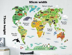 Animals Safari World Map Kids Decor Removable Wall Sticker School