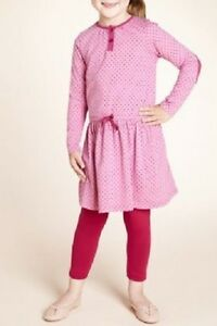 Aufstrebend Girls 100% Cotton Pink Long Sleeve Spotted Dress From Marks And Spencer Age 3-4 Rheuma Und ErkäLtung Lindern Kleidung & Accessoires
