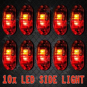 10 x 12V 24V LED RED AMBER MARKER LAMPS -Boat/Caravan/Trailer Clearance Lights