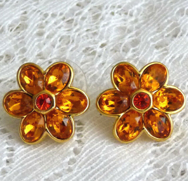 Gorgeous JOAN RIVERS Gold Tone Amber Crystal Clip-On Earrings  Z98