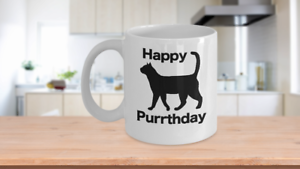 Happy Purrthday Mug White Coffee Cup Funny Gift for Cat Lover Mom Dad Owner Birt